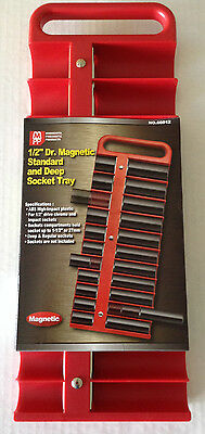 "1/2"" Dr Magnetic Standard and Deep 22pc Socket Tray - Choice of Red or Black"
