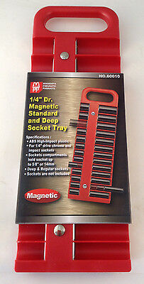 "1/4"" Dr Magnetic Standard and Deep 22pc Socket Tray - Choice of Red or Black"