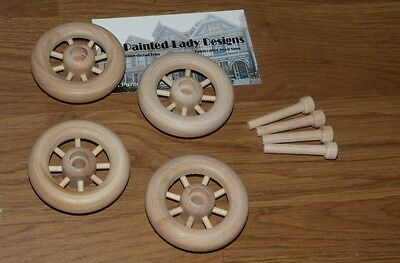 """Wood Wheels w/ Spokes ~ Antique Toy Making Parts Wagons { 2 1/4"""" Dia. } ~ by PLD"""