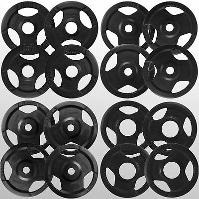 Tri 3 Grip Weight Plates Discs in Rubber Coating Home Gym Training Fitness
