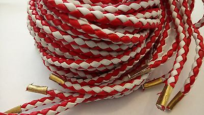 Bolo Cord Braided PU/ Synth Leather Red&White Motorcycle Biker Vest Waistcoats