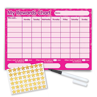 Re-usable Reward Chart (including FREE Stickers and Pen) - Pink Stars Design