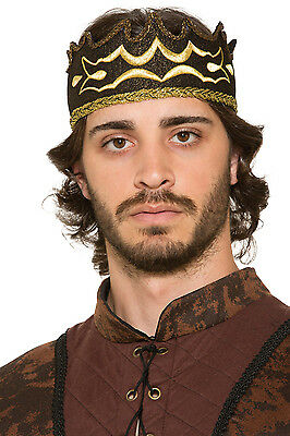 Adult #Male Medieval & Gothic Black Kings Crown Fancy Dress Outfit Accessory