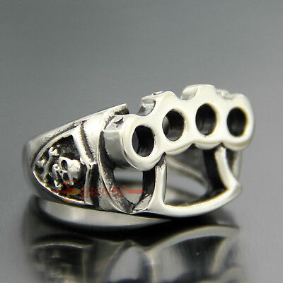 Mens Brass Knuckles Dusters Skull 316L Stainless Steel Biker Ring knuckledusters