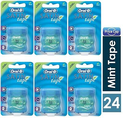 24 x Oral B Satin Tape Mint 25m/27yd  - GREAT CLEAN + COMFORT TAPE