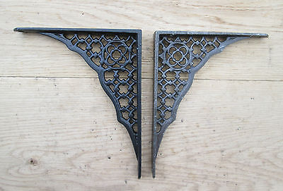 Pair of ANTIQUE GOTHIC REVIVAL CAST IRON WALL SHELF BRACKETS SINK TOILET CISTERN