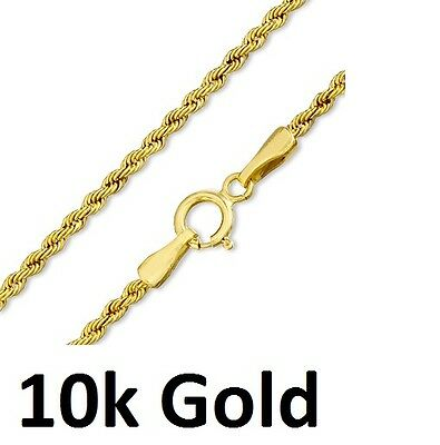 Pure 10k yellow gold Hollow Rope Chain 1.6mm  chain Gold Necklace 10 karat gold