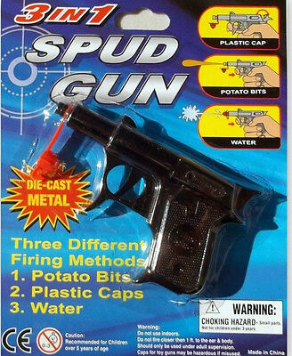 Spud Gun 3 In 1 ,Shoots Potato Pellets Water Plastic Caps  Die-Cast Metal Black