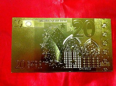 Banknote 20 Euro 24Kt Gold Rare Collectable  24Kt Rare Gold 99.9% + Free Coa