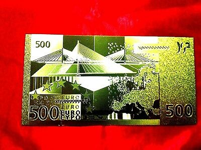 Banknote 500 Euro 24Kt Gold Rare Collectable  24Kt Rare Gold 99.9% + Free Coa