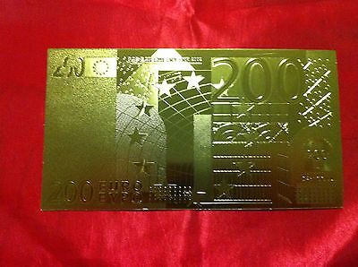 Banknote 200 Euro 24Kt Gold Rare Collectable  24Kt Rare Gold 99.9% + Free Coa