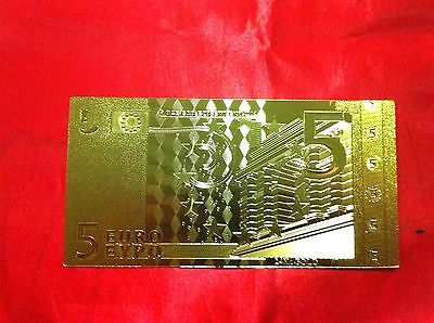 Banknote 5 Euro 24Kt Gold Rare Collectable  24Kt Rare Gold 99.9% + Free Coa