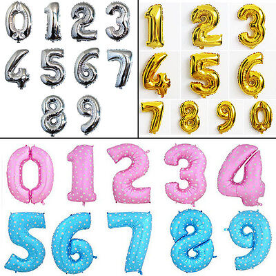 """New 1x Foil 16""""/40"""" Balloon Numbers 0-9 For Birthday Party Wedding Decoration"""