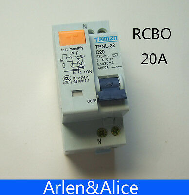 DPNL 1P+N 20A 230V~ 50HZ/60HZ MCB with over current and Leakage protection RCBO