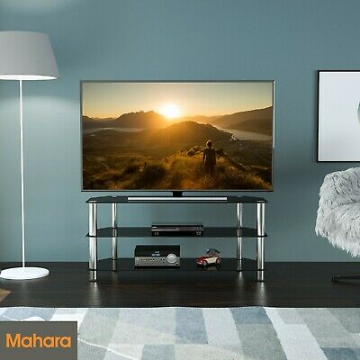 """Black Gloss Glass TV Stand 114cm width Suitable For LCD LED TVs 32 42 47 55"""""""