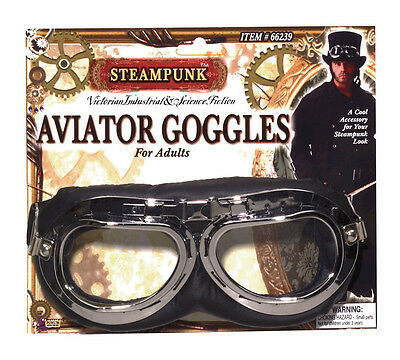 Adult Victorian #black Steampunk Aviator Pilot Goggles Fancy Dress Accessory