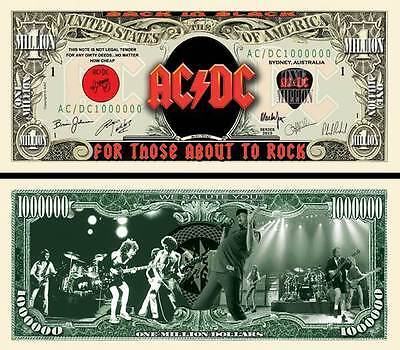 AC/DC BILLET MILLION DOLLAR US! ANGUS YOUNG Bon Scott Logo Hard Rock Heavy Métal