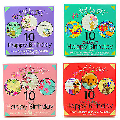Luxury Pack of 10 Assorted Ladies Mens Kids Birthday Cards With Envelopes