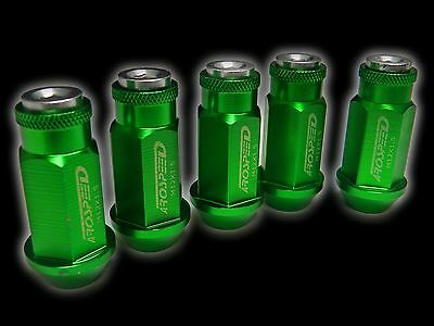 20Pc 12X1.5Mm 50Mm Extended Aluminum Racing Capped Lug Nuts Green/Silver C
