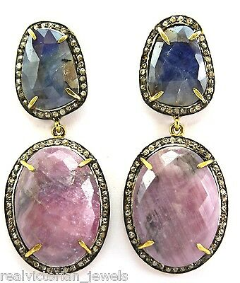 Beautiful 63.45 Ct. Pink & Blue Sapphire & Rose Cut Diamond Earring