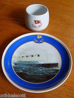 """REPRODUCTION TITANIC 8""""  PLATE & 3"""" CUP WHITE STAR LINE"""