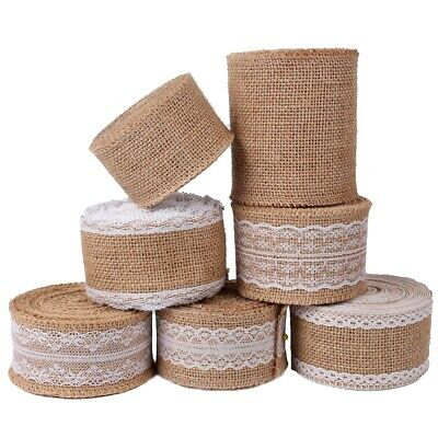 5m Natural Jute Hessian Burlap Ribbon Lace Plain Trim Craft Wedding Rustic Vinta