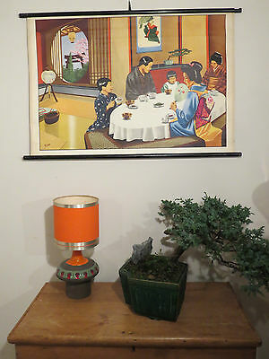 Vintage Pull Down School Wall Chart Of Tea Ceremony Japanese Family Having Tea
