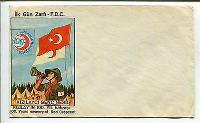 Turkish Boy Scout Postal Cover-100Th Anniversary Of The Red Crescent-Kizilayci