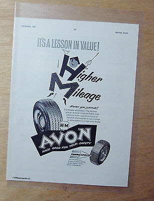 Vintage 1960 Motor Sport Magazine Advert- AVON HM TYRES - ITS A LESSON IN VALUE