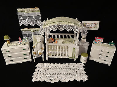 Dollhouse Miniature Baby Nursery Complete with Baby/Furniture/Accessories