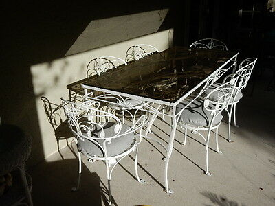 Mid-Century Florentine wrought iron patio set, seats six