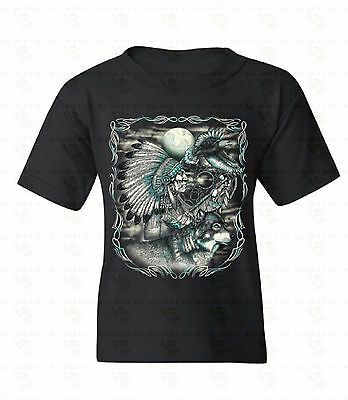Chief Wolf Eagle Youth T-shirt Native American Dream Catcher Moon Gift For Kids