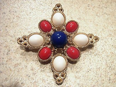 """Delizza & Elster for Sarah Coventry~ Brooch/Pin~ """"Americana""""~Red/White/Blue~1972"""