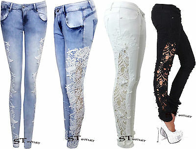 S220 Embroidery Crochet Lace Jeans Womens Blue Stretch Denim Skinny Fit Pants