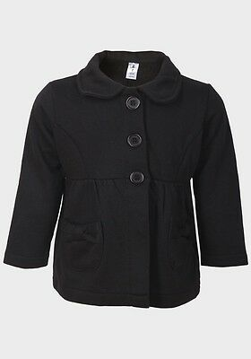 Bnwot Girls Jersey Fleece Collared Black Jacket Age 2 Years Only