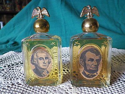 2 Avon Bottles George Washington Spicy & Abe Lincoln Leather After Shave Full