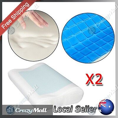 2 x Memory Foam Pillows Contour Neck Shoulder Support Cool Gel Top Layer & Cover