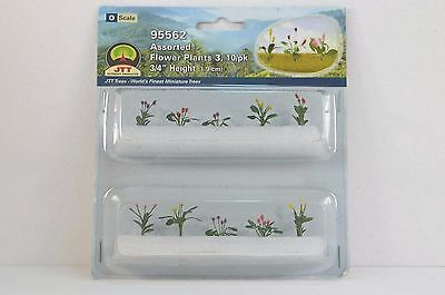 "JTT Scenery Assorted Flower Plants3 10/pk 3/4"" Height O Scale 95562 NEW"