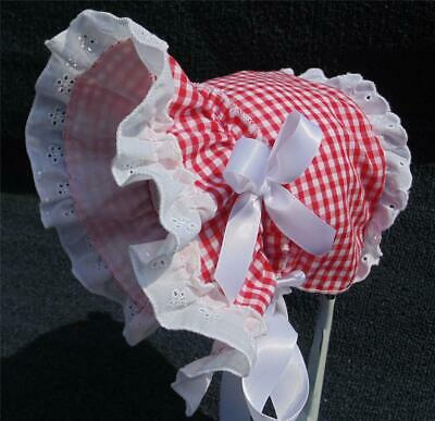 New Handmade Gingham with Cotton Eyelet Lace Baby Sun Bonnet