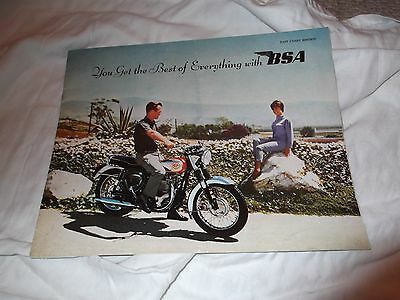 Original BSA motorcycle brochure for 1962 full line 12 pages very good condition