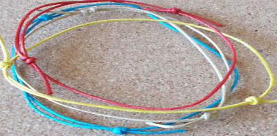 Cord Slider ANKLET Surfer String Friendship Knotted Beach Swim Festival Wax Rope