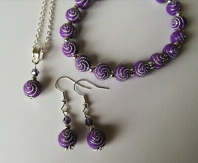 Silver Plated Jewellery Set in Purple Swirl Beads
