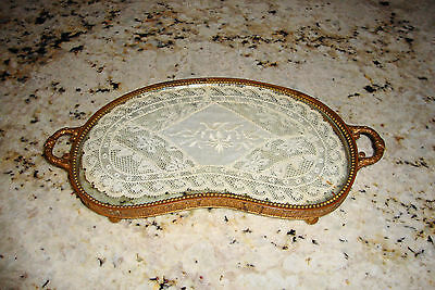 Antique Kidney Shaped Footed Vanity Perfume Tray Ormolu Ornate w/ Doily Insert