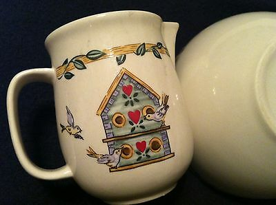 Thomson Pottery Birdhouse Creamer  Pitcher 12oz And Cereal Bowl Heart Vine Birds