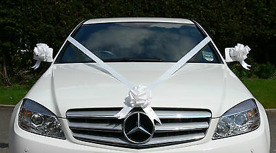 WHITE Wedding Car Decoration Kit Large Bows & 7 Metres of Ribbon FAST & FREEPOST