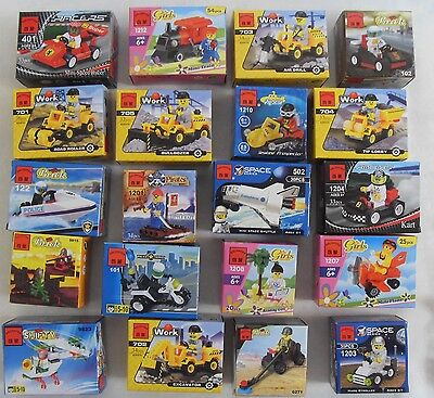 Huge 20 kinds Mini building toys with 20 figures City Town Police Pirates in bag