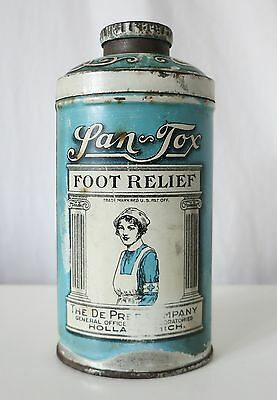 Lan-Tox Foot Powder Antique Tin, The De Pree Co, Holland, Mi, Red Cross Nurse