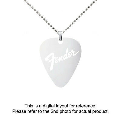 Fender Stainless Steel Guitar Pick Shape Charm Necklace