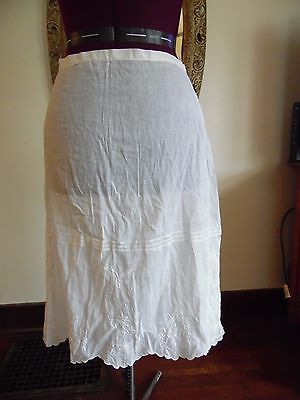 Antique Women's Cotton Embroidered Slip Size Small