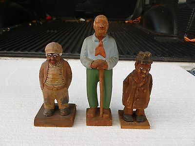 Antique Folk Art Carved Wooden Figures Of African American People